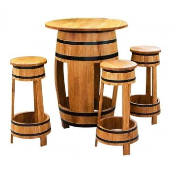 Tammevaadist mööbel Barrel-1 103x80cm 4-tooliga