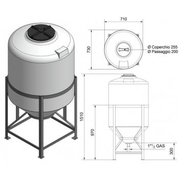 Mahuti 300l (koonus), plast metallalusega
