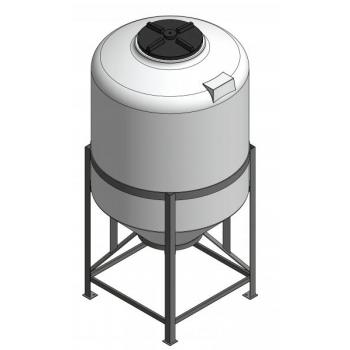 Plastmahuti 1100l (koonuspõhi), metallalusel