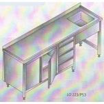 Roostevaba laud 2400x600x850mm valamu paremal, all sahtlid ja kapp